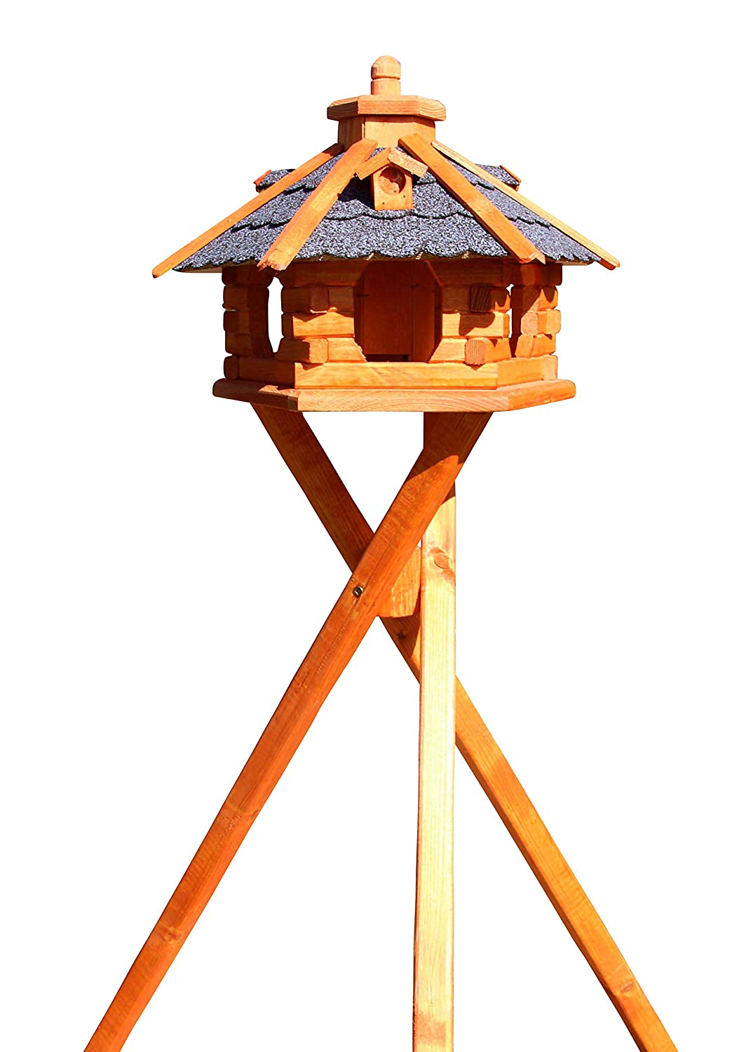 bluee Wooden bird house with stand, Model 4.