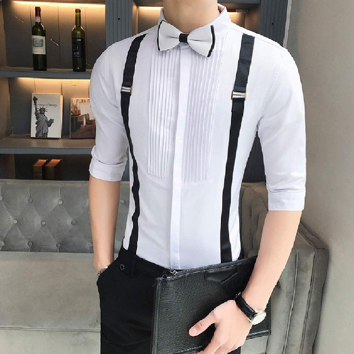 Losait Mens Wedding Button-Front Big and Tall Vingtage Party Shirts