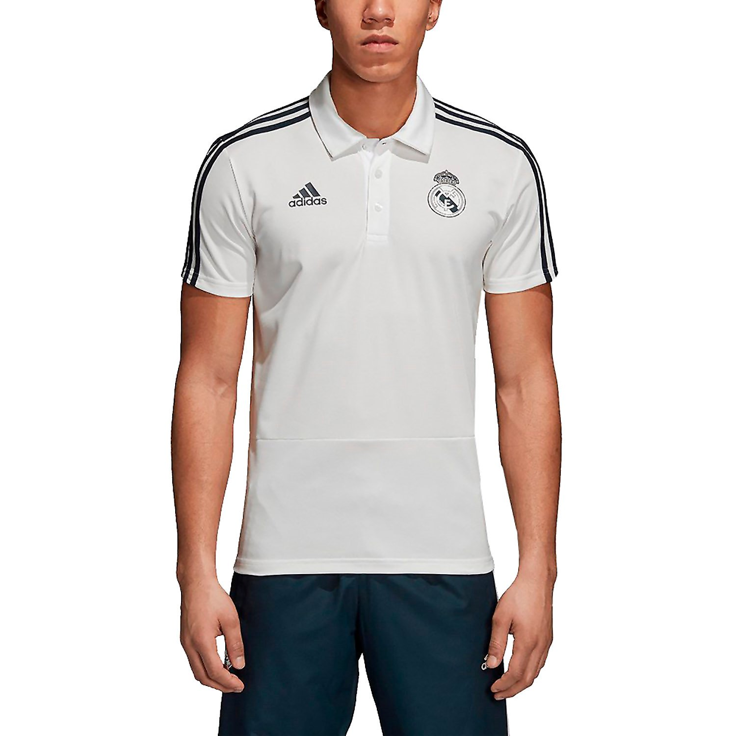 adidas 2018-2019 Real Madrid Polo Football Soccer T-Shirt Jersey (White)
