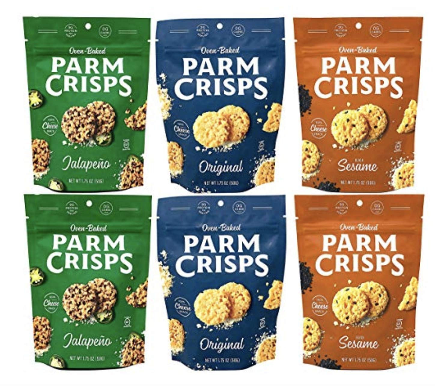 ParmCrisps, Made From 100% Real Parmesan Cheese, Gluten Free, Sugar Free, Keto Friendly, 3 Flavor Variety Pack, 1.75oz Bags (Pack of 6)