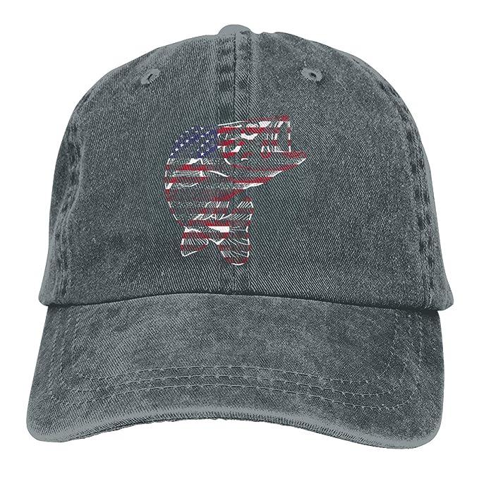 27df16f5b Amazon.com: American Flag Bass Fish Dad Denim Hats Vintage Baseball ...