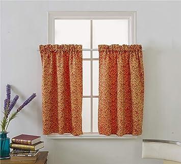 2er Set Scheibengardine Vorhang Gardine Fenstervorhang mit Ösen für Schränke