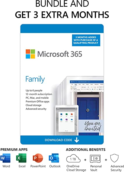Amazon Com Microsoft 365 Family 3 Months Free Plus 12 Month Subscription Up To 6 People Premium Office Apps 1tb Onedrive Cloud Storage Pc Mac Download Renews To 12 Month Subscription Software