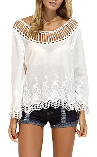 Mujer Camisetas Elegante Moda Loose Blusas Color Sólido Dulce Lindo Chic Larga Cuello Redondo Encaje Bikini