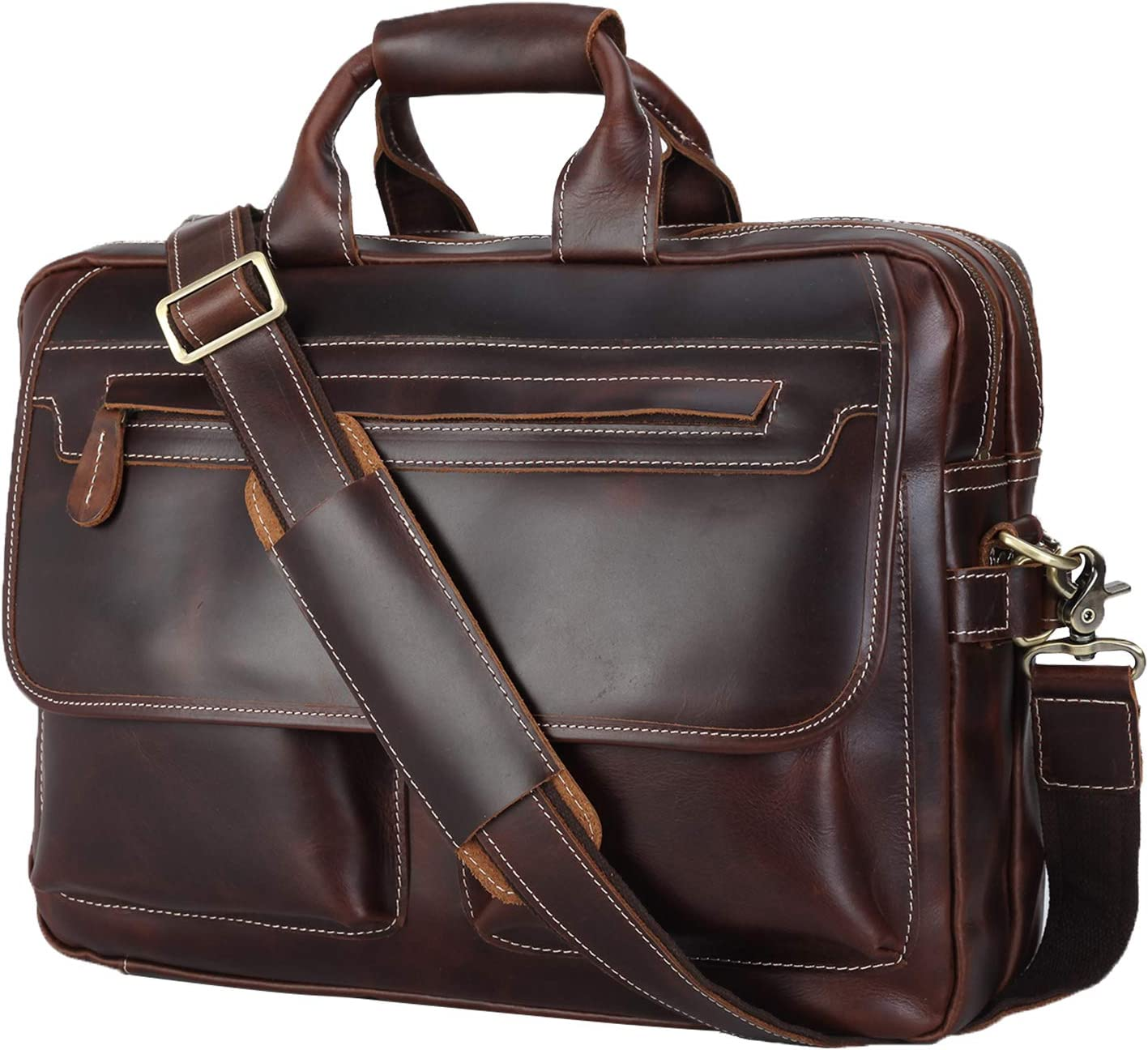 Texbo Vintage Cowhide Leather 15.6 Inch Laptop Briefcase Messenger Bag with YKK Metal Zipper Version 2019