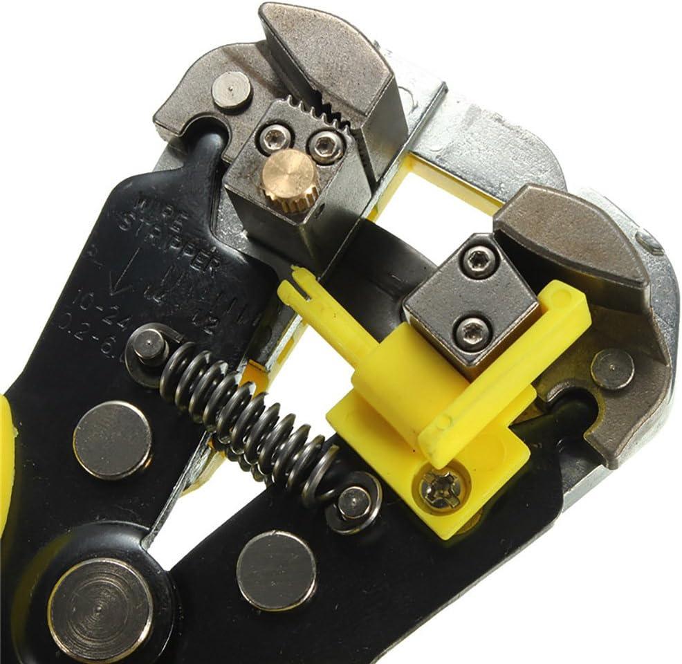 24 AWG SpinAmz Abisolierzange automatischer Kabelschneider 0,2 selbstjustierend 8 Zoll 6,0 mm/² 3-in-1 Multi-Tool-Abisolierzange 20,3 cm Gelb Crimpzange f/ür 10