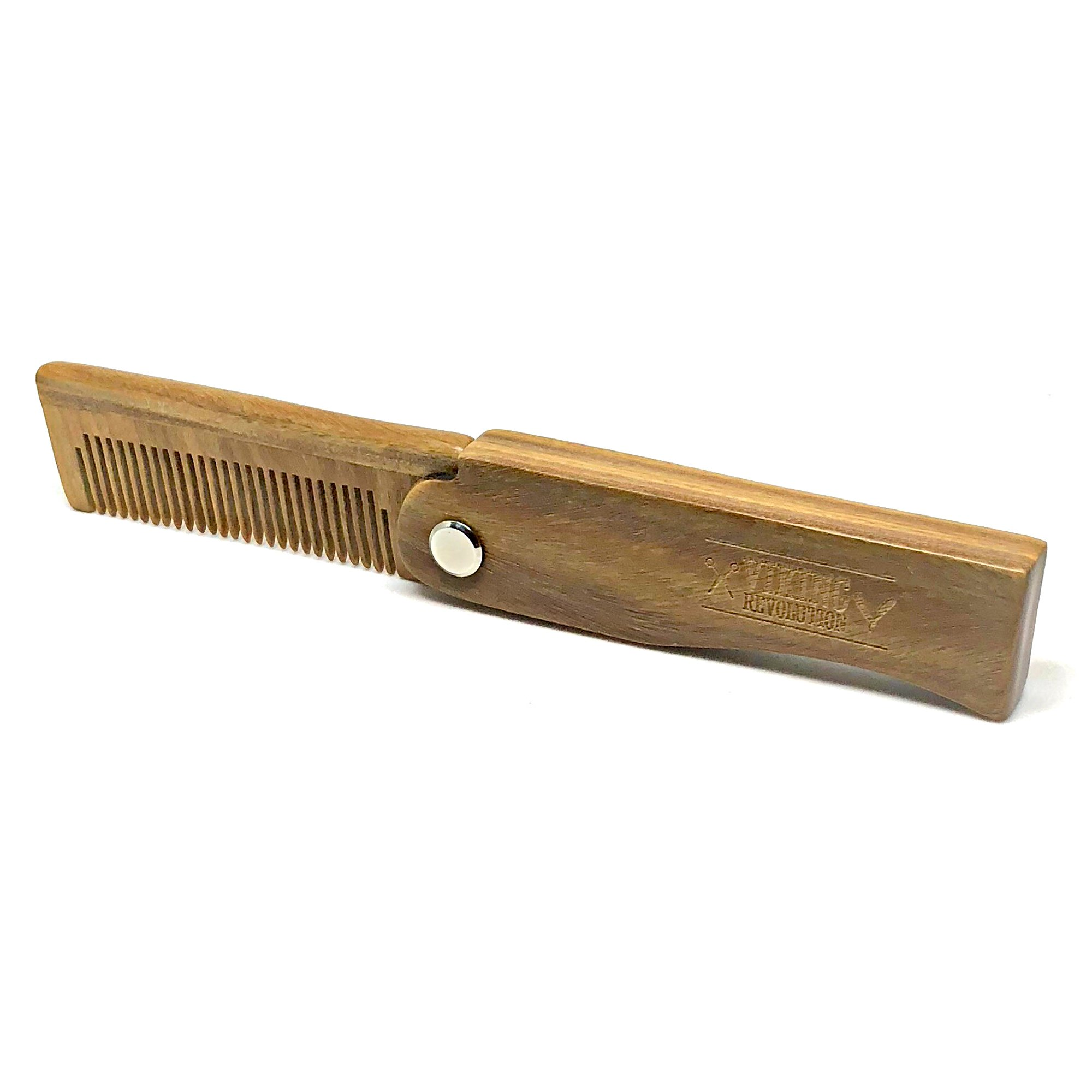 BEST DEAL Folding Beard Comb w/Carrying Pouch for Men - All Natural Wooden  Beard Comb w/Gift Box - Green Sandalwood Comb for Grooming & Combing Hair,