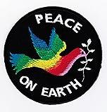 Paz en la tierra con el colorido de la paloma Coser insignia / Hierro-en remiendo ca. 7,5 x 7,5 cm