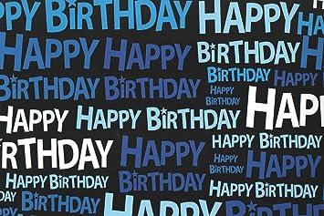 2 X Black Blue White Happy Birthday Boys Mens Gift Wrap