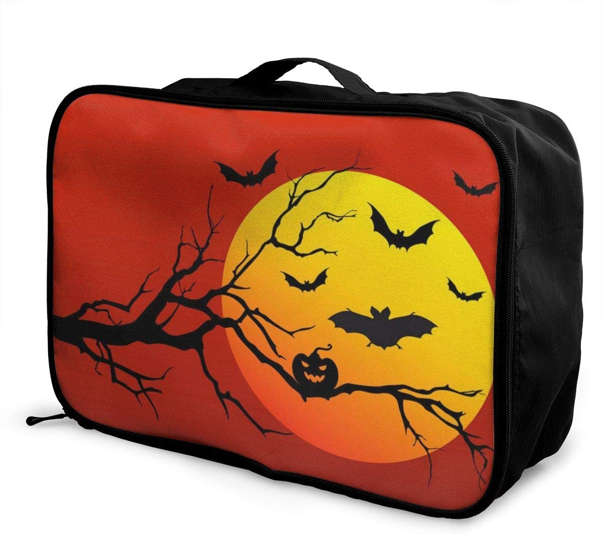Yunshm Halloween Red Background Yellow Moon Customized Trolley Handbag Waterproof Unisex Large Capacity For Business Travel Storage