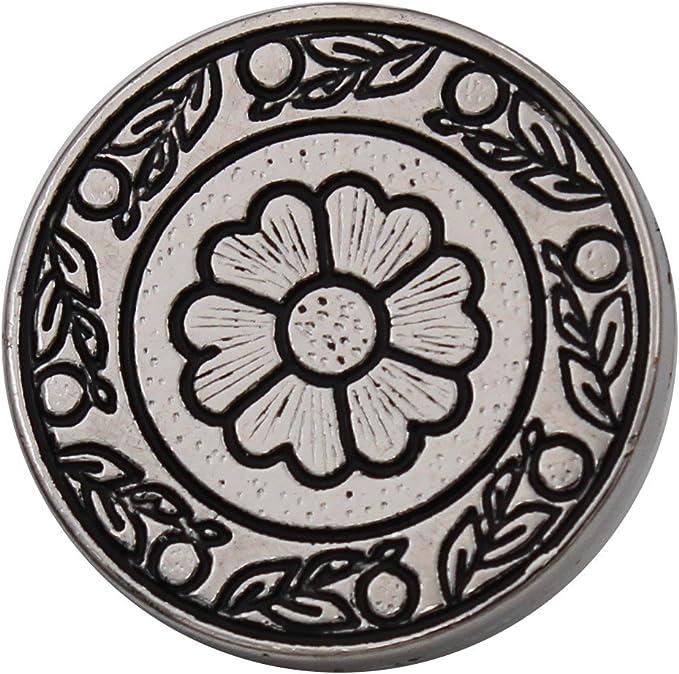 18mm oder 23mm 6 Stück silber Metall Knöpfe flach Ösenknöpfe Blüte Blume 15mm