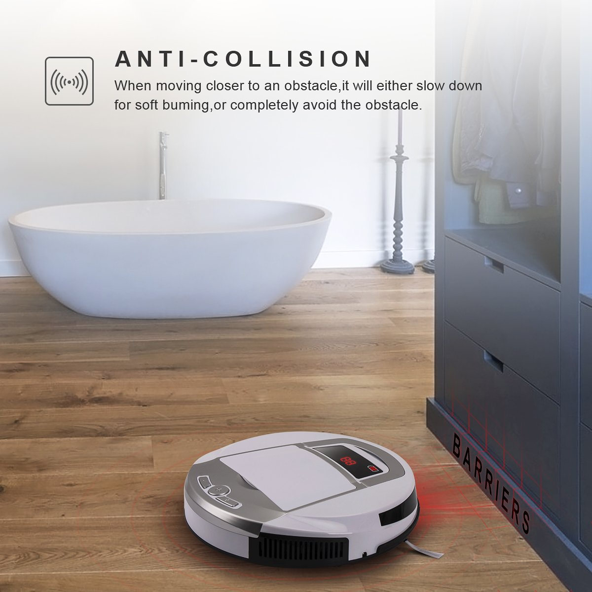 Robotic Vacuum Cleaner, Rechargeable Robotic Vacuum with Strong Suction and HEPA Double Filter, Anti-Cliff and Anti-Bump Sensor Robot for Pet Hair, Fur, Allergens, Thin Carpet, Hardwood and Tile Floor by FORTUNE DRAGON (Image #7)