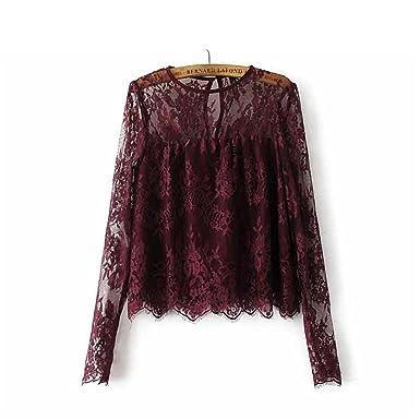 9b61de1c08bef1 Destjoy Blouses Women Vintage Transparent Wine Lace Shirts Long Sleeve o  Neck Blouse Ladies Tops LT1503 at Amazon Women's Clothing store: