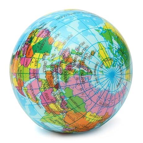 World Map Globe Ball. Squishy Toy Earth Globe Planet World Map Foam Stress Relief Bouncy Press  Ball Geography Decor Gift Amazon com