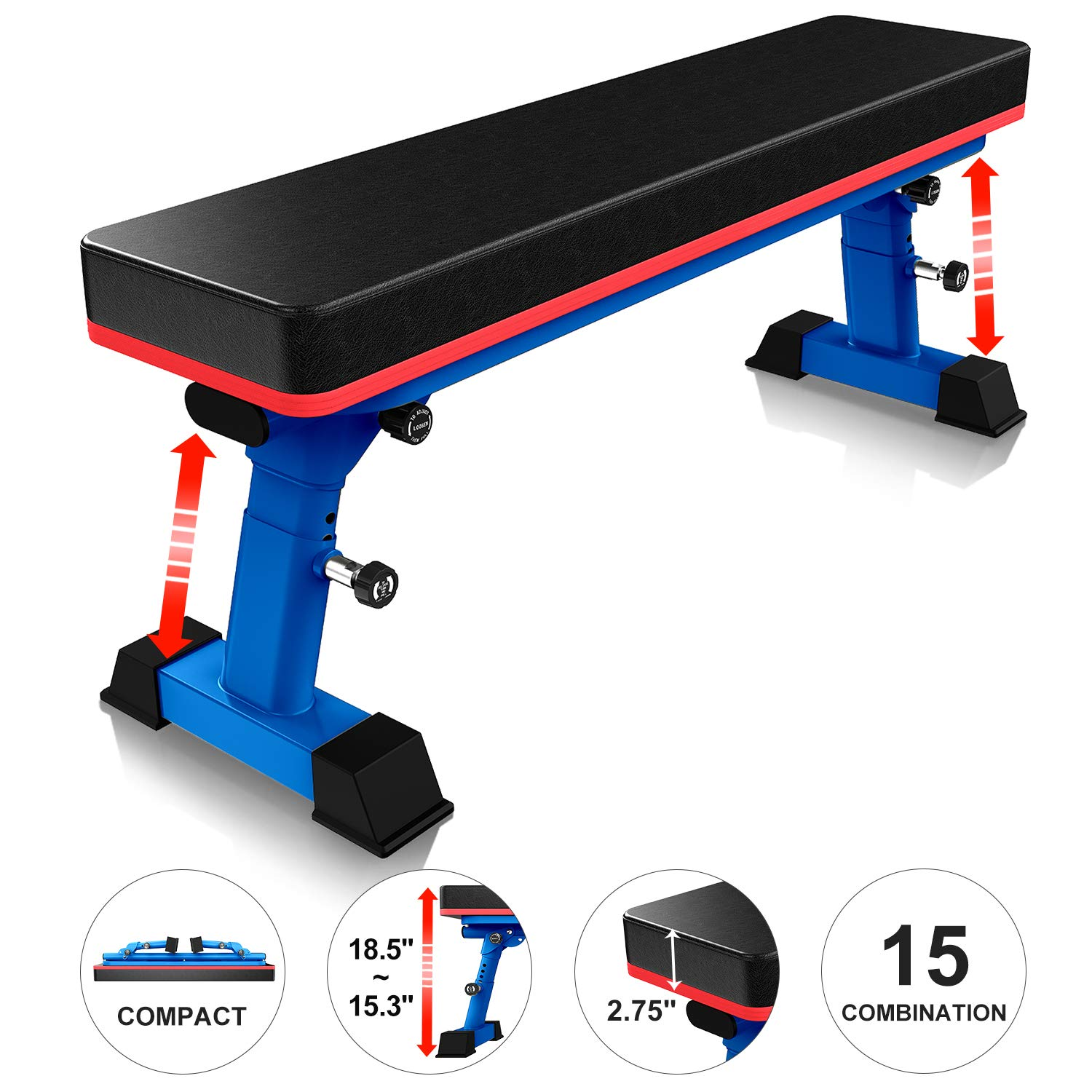 YouTen 800 LBS Adjustable Bench for Body Workout Fitness, 5Positions Flat Bench, Abs Exercise Weight Bench with Steel Frame Blue by YouTen
