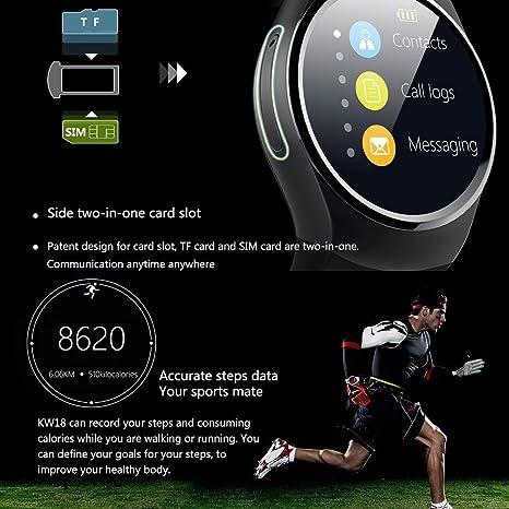 KOBWA KW18 Todo-en-1 Bluetooth Smart Watch Teléfonos, Sim Smartwatches para IOS/Android Smartphones, Soporte SIM TF Tarjeta Monitor de Ritmo Cardiaco ...