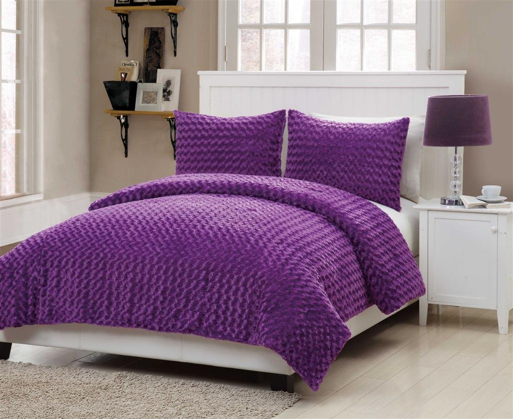 VCNY Rose Fur 3-Piece Comforter Set, Full, Purple