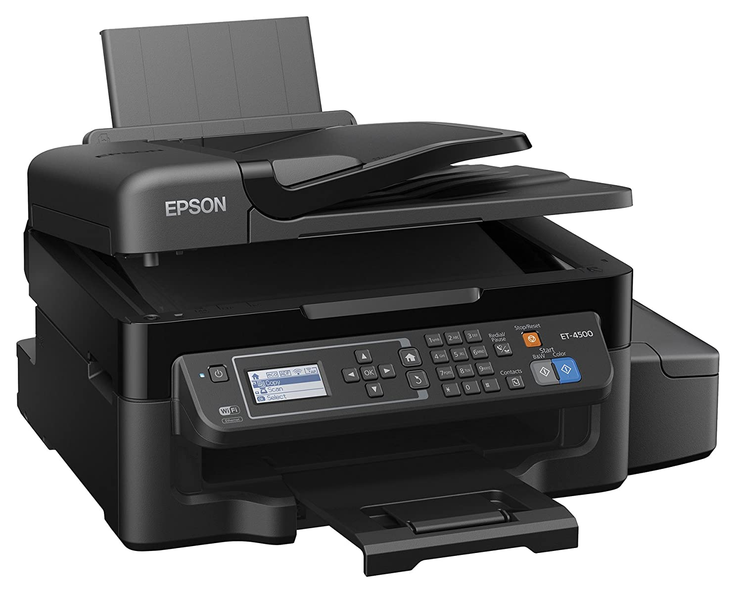 Amazon.com : Epson WorkForce ET-4500 EcoTank Wireless Color All-in-One Supertank Printer with Scanner, Copier, Fax, Ethernet, Wi-Fi, Wi-Fi Direct, Tablet and Smartphone (iPad, iPhone, Android) Printing, Easily Refillable Ink Tanks