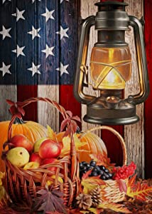 Furiaz Fall Garden Flag Pumpkins, Home Decorative House Yard Small Flag Lantern American Flag Patriotic Decor Double Sided, Autumn Farmhouse Outdoor Decorations USA Veterans Day Outside Flag 12 x 18