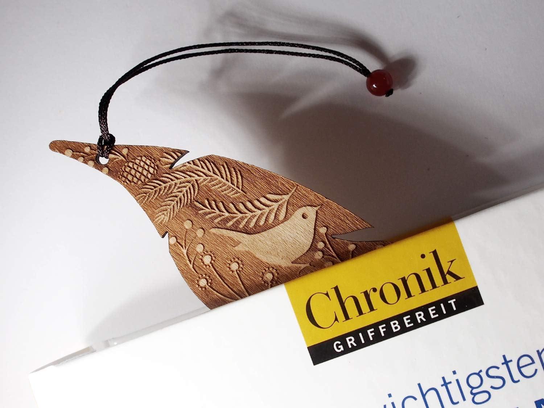 MinaturArt Lesezeichen aus Holz Vogel und Blumen