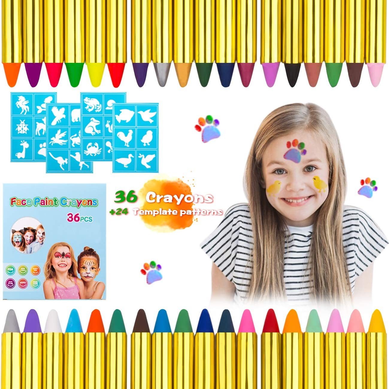 Kesote 36 Colors Face Paint Crayons Non-toxic Safety Body Painting Crayon Kit 4 Pcs Painting Stencils for Kids Easter//Halloween//Christmas//Makeup Cosplay Party