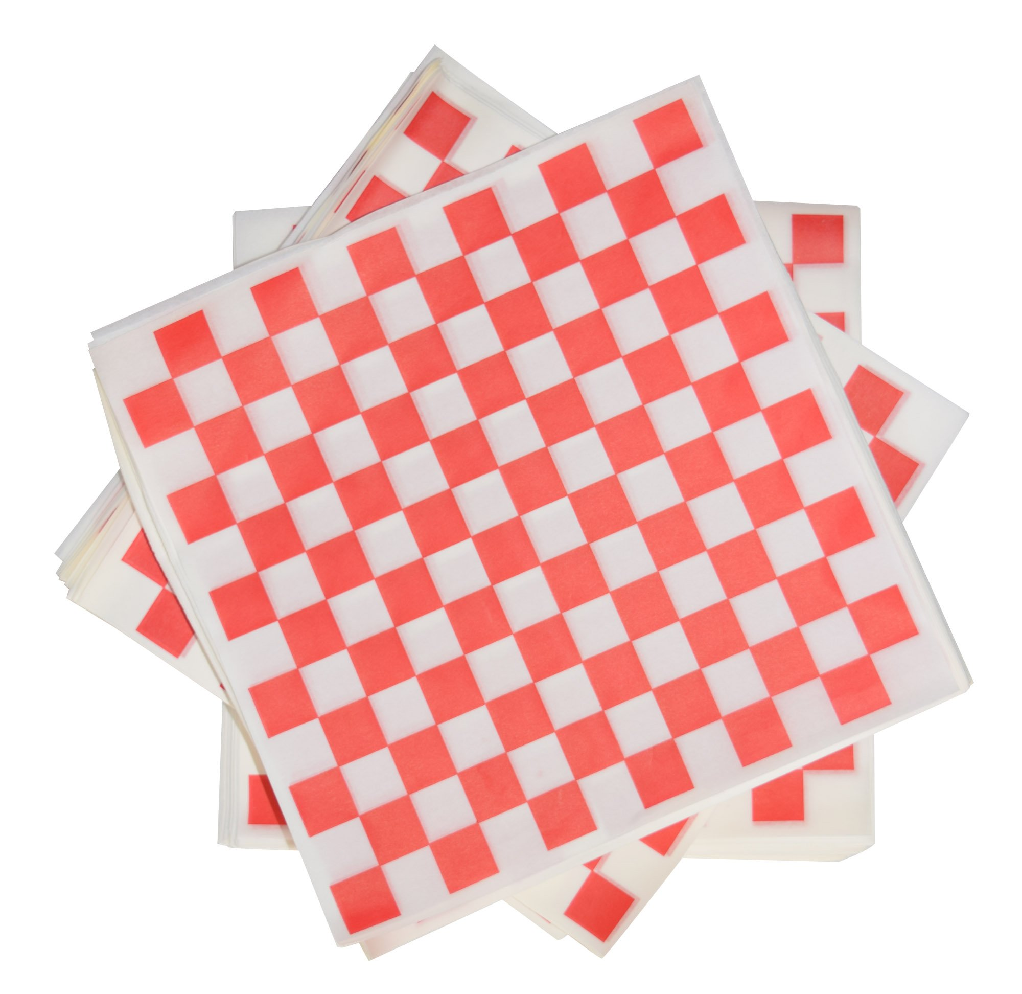 5000 Sheets of Red and White Checkered, Grease - Resistant, Basket Liners/Deli Paper