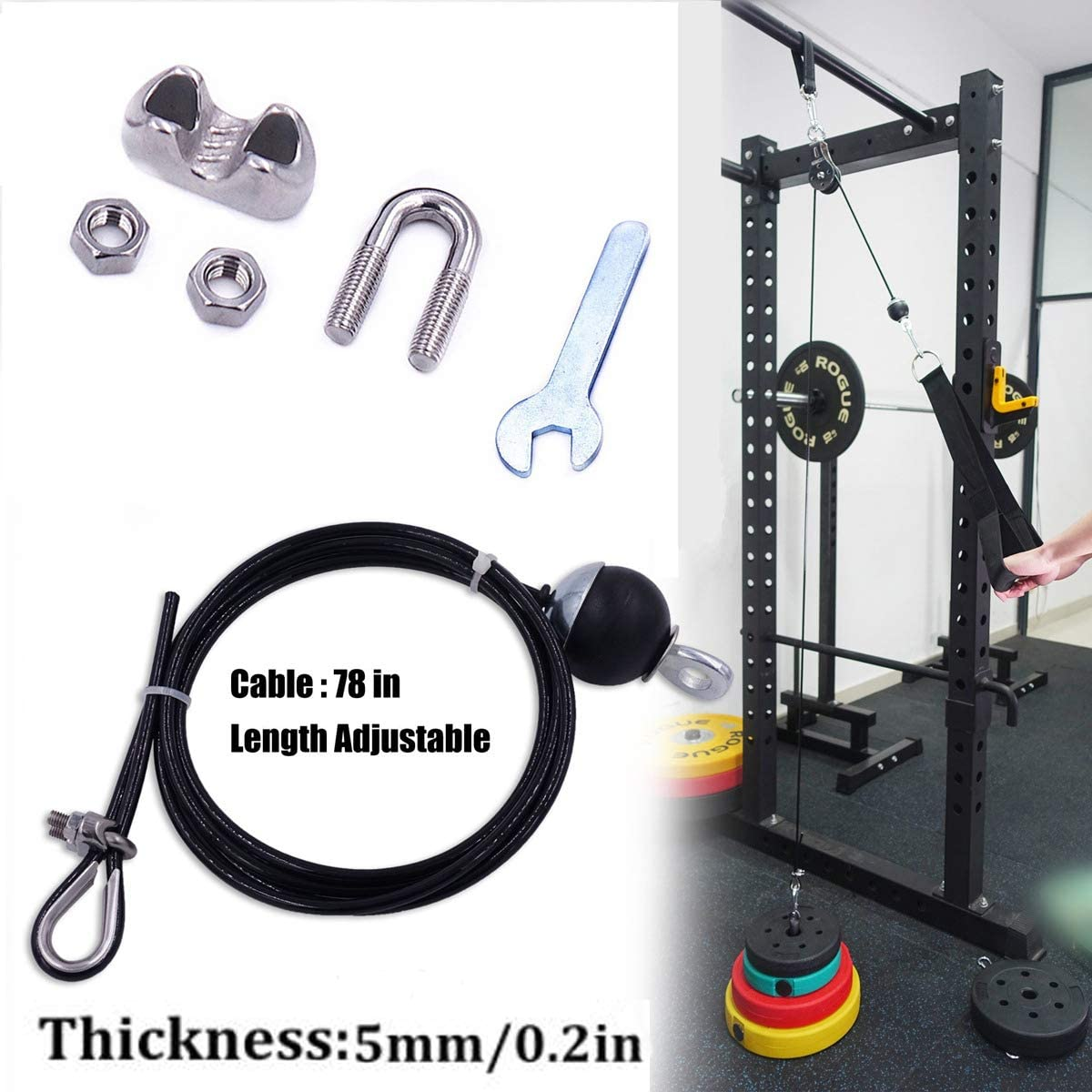 Fitness Pulley Cable Gym Workout Equipment Machine Attachment  Home Exercise US