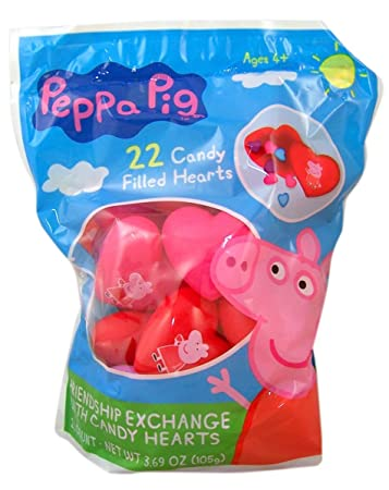 Elegant Peppa Pig Valentineu0027s Day Classroom Plastic Heart Gifts With Candy Hearts,  22 Count