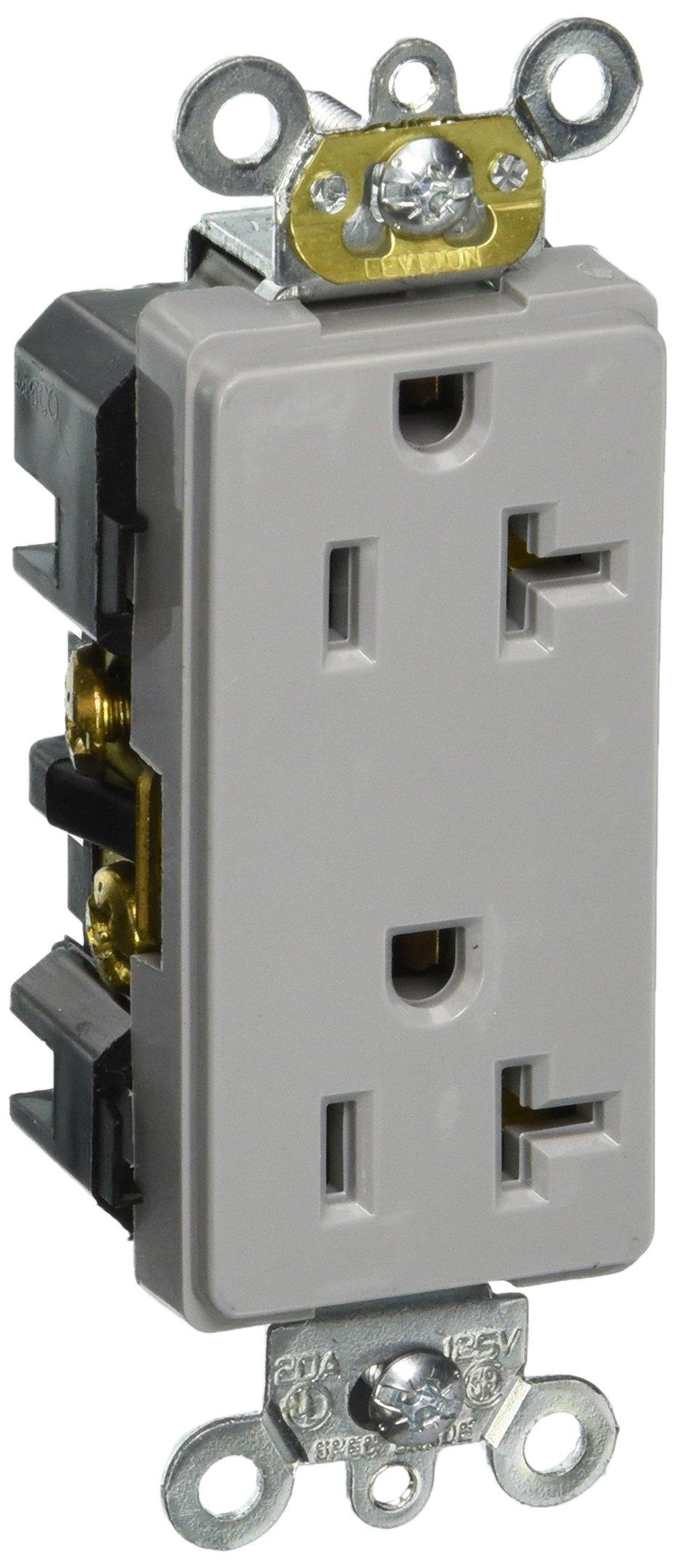 Leviton 16362-GY 20-Amp, 125-Volt, Decora Plus Duplex Receptacle, Straight Blade, Industrial Grade, Self Grounding, Gray