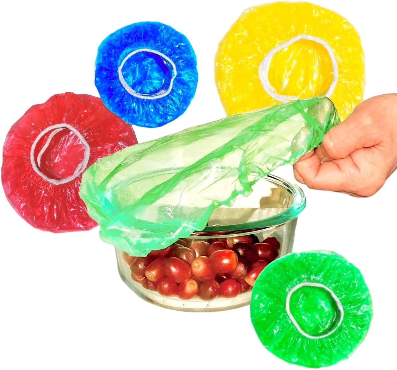 All Size Colorful Plastic Covers For Food Storage Wrap Elastic Covers For Bowls, Plates, Dishes - 50 Reusable, Disposable Bowl Covers for Leftovers, Picnic Outdoor Food Cover xl, Large, Medium, Small