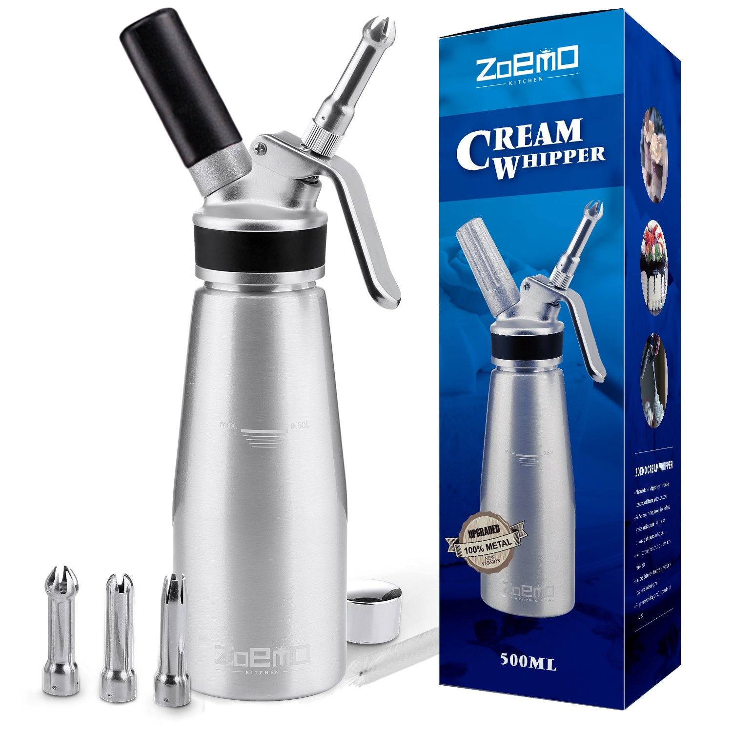 UPGRADED All Metal Whipped Cream Dispenser by ZOEMO - Reinforced Leak-Free Cream Whipper w/Durable Metal Body & Head, 3 Stainless Steel Decorating Tips - 1 Pint Canister Cream Maker KW01B500