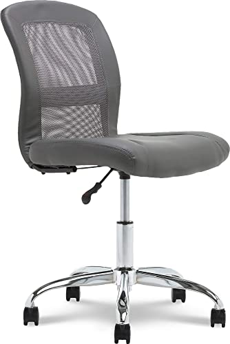 Serta Essentials Ergonomic Armless Low-Back Computer Swivel Task Chair, Faux Leather and Mesh, Gray