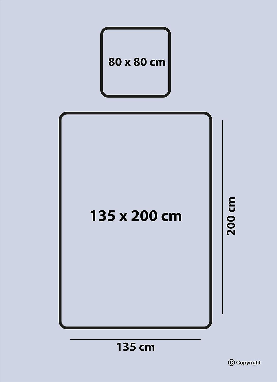 Verdeckter Rei/ßverschluss ZIRVEHOME Bettw/äsche 135x200 cm 2 teilig Bettbezug Set mit Kissenbezug 80x80 cm Atmungsaktiver Grau//Lila Gestreift,100/% Baumwolle//Renforc/é Azur V1