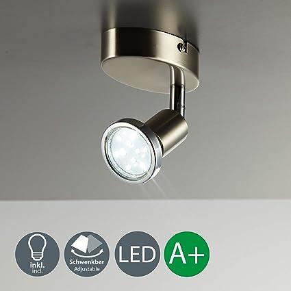 Lámpara de techo y pared, Foco orientable y giratorio incl. 1x3W LED GU10 250lm