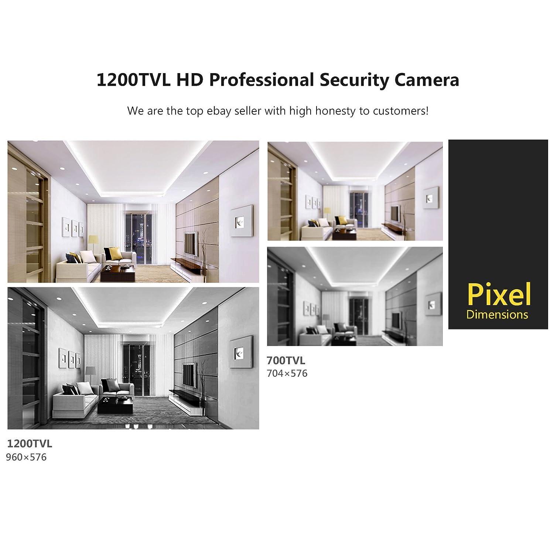 SW 1200TVL al aire libre Seguridad CCTV cámara con gran angular de 3,6 mm lente 36 Leds infrarrojos visión nocturna cámara Bullet: Amazon.es: Bricolaje y ...