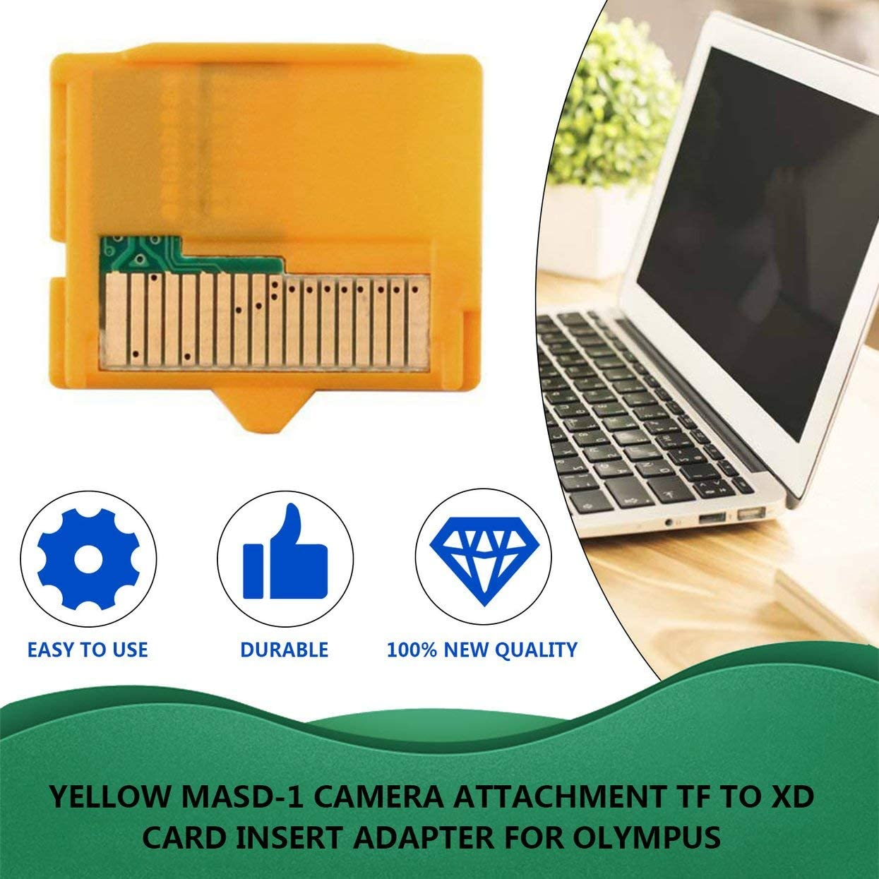 profectlen-US Yellow 25 x 22 x 2mm L x W xH 1pcs Micro SD Attachment MASD-1 Camera TF to XD Card Insert Adapter for Olympus