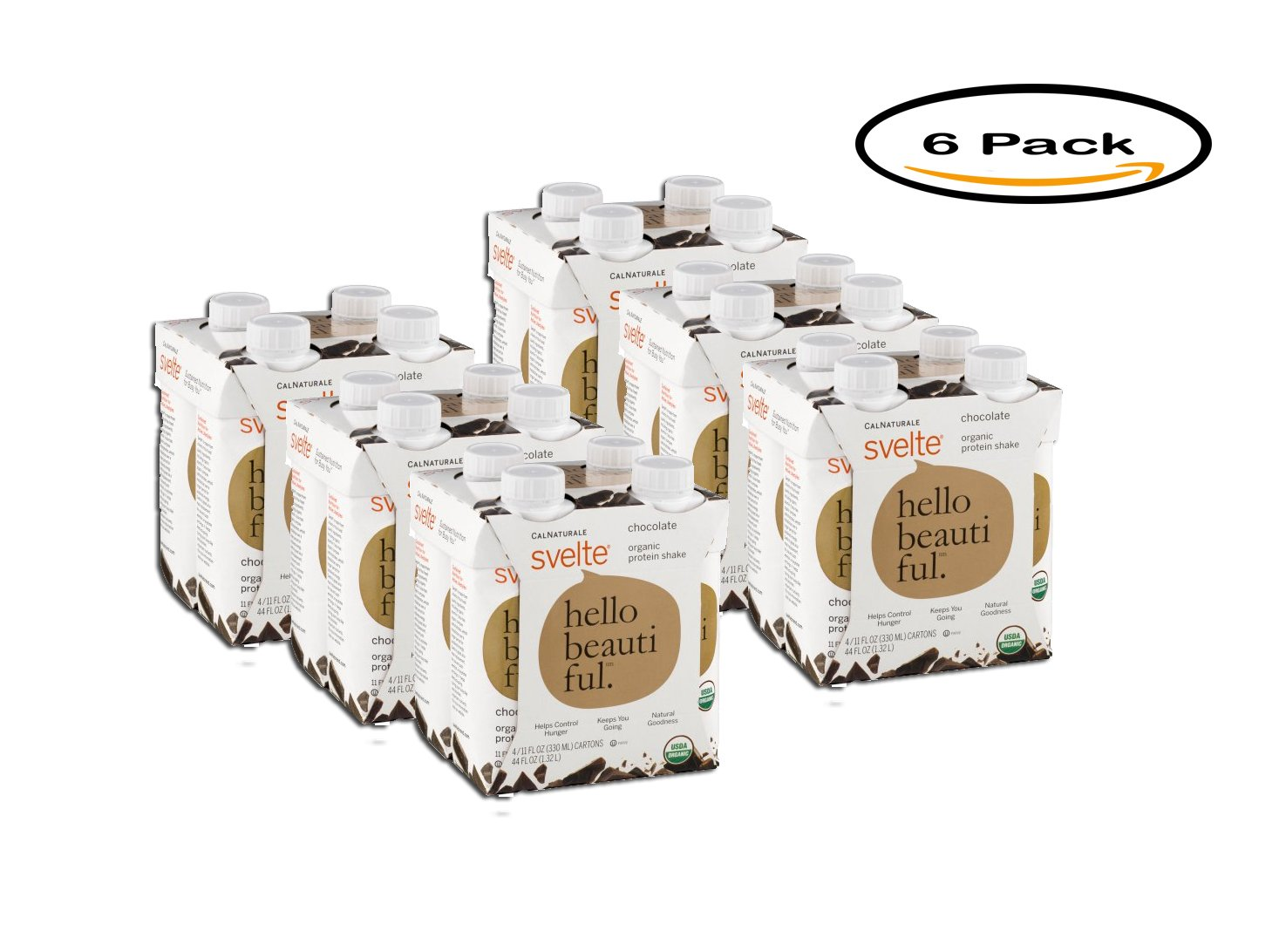 PACK OF 6 - CalNaturale Svelte Chocolate Organic Protein Drink 4 pk 44 oz