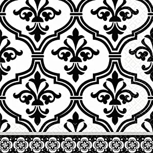 amscan Damask & Polka Dot Party Beverage Napkins (36 Piece), 5 x 5, Black/White
