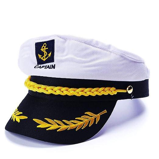 Amazon com: GordonKo Military Nautical Hat White Yacht Captain Hat