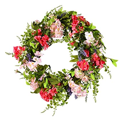 Amazon Vickerman Fg180322 Pink And White Mixed Floral Wreath