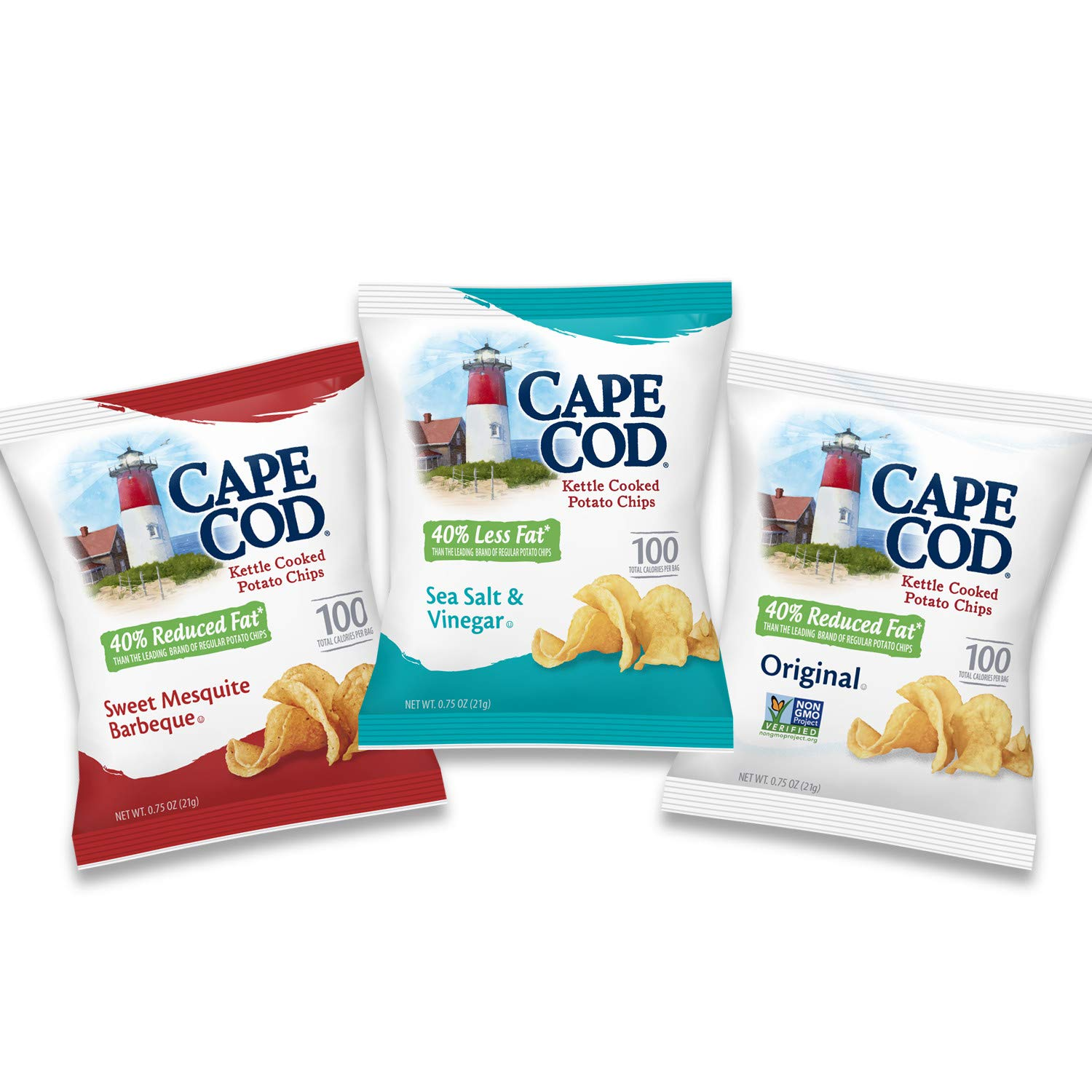 Cape Cod Potato Chips, Reduced Fat Kettle Cooked Chips, Variety Pack, 30 Count