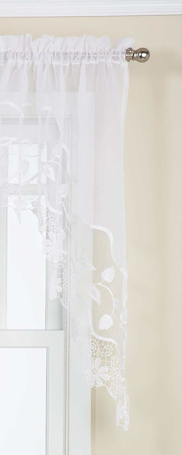 LORRAINE HOME FASHIONS Seville Tailored Swag Pair, 58 by 38-Inch, White