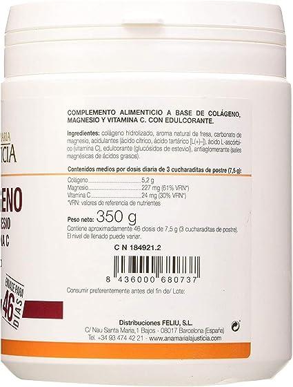 Ana Maria Lajusticia - Colágeno con magnesio y vit c – 350 gramos (sabor fresa) articulaciones fuertes y piel tersa. Regenerador de tejidos con colágeno hidrolizado tipo 1 y 2. Envase para
