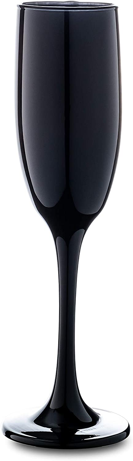 """Vikko Décor Glossy Black Champagne Flutes   6 Ounce Capacity – Perfect for Parties, Weddings, and Everyday – Thick and Durable – Dishwasher Safe – Set of 6 Sparkling Wine Glasses – 8.8"""" x 2"""""""