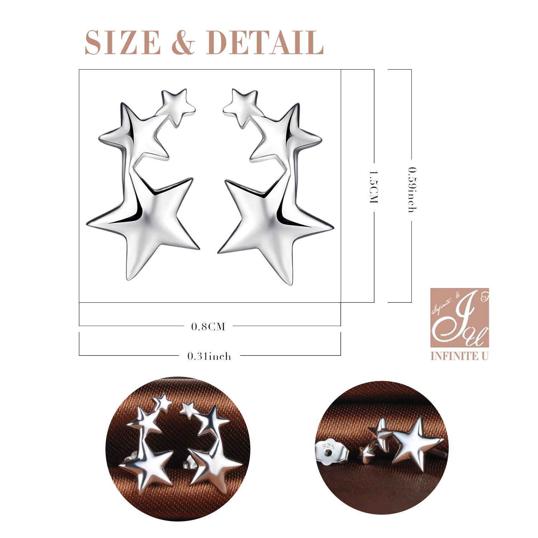 Pendientes Estrellas Peque/ñas de Plata de Ley 925 para Mujer y Ni/ña Infinito U