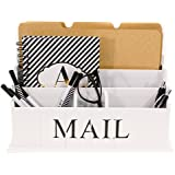 Blu Monaco Desk Top Mail, File, Letter Organizer – 3 Tiers White Rustic Country Wooden Desktop – Organize your Life in Style – Shabby Chic Design for the Home – Compartments for Organization