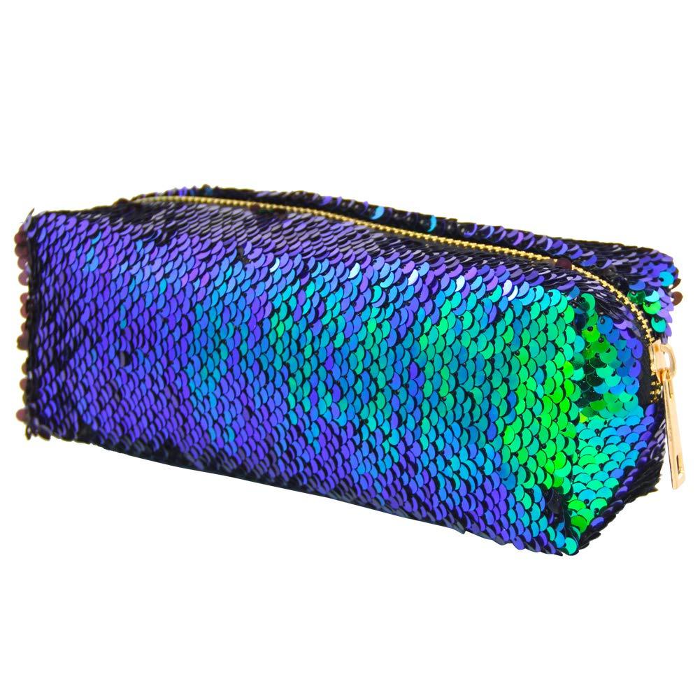 MHJY Mermaid Sequin Pencil Case Cosmetic Bag Magic Reversible Sequins Makeup Bag Pencil Pouch Glitter Handbag