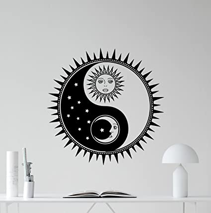 Amazon.com: Sun And Moon Yin Yang Wall Decal Sun Stars Vinyl Sticker ...