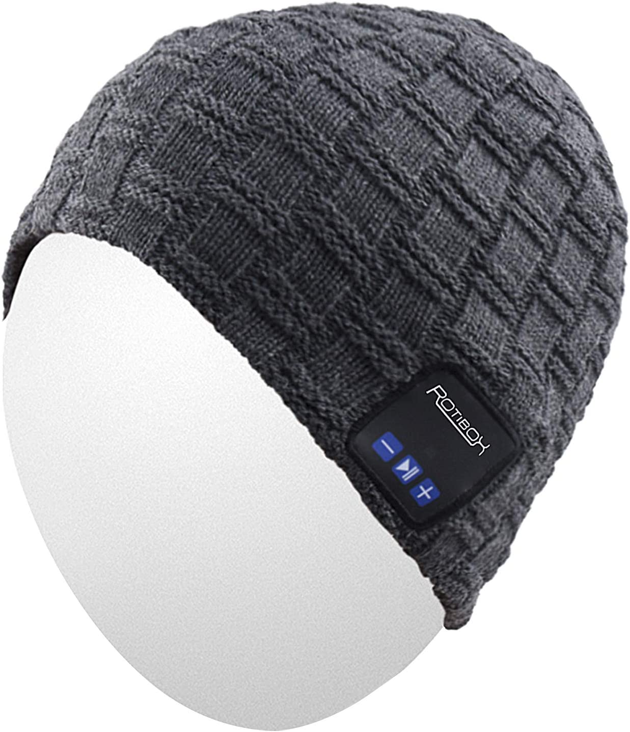 Qshell Winter Trendy Short Wireless Bluetooth Beanie Hat Cap for Men Women with Stereo Headphones Headsets Speakers Hands-Free Call for Outdoor Sports Gym Skiing Skating Walking, Gray