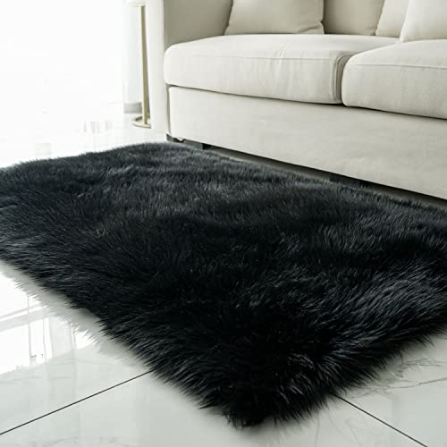 Faux Sheepskin Fur Area Rugs for Bedroom, Luxury Fluffy Mat Plush Sofa Cover Seat Pad for Bedroom – 3ft x 5ft, Black
